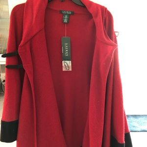 LAUREN Ralph Lauren red and black cape poncho